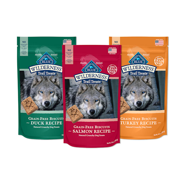 Blue Buffalo Blue Wilderness Biscuits, Duck, Turkey & Salmon Recipes Trail Dog Treats Variety Pack, 10 oz., Count of 3 - Carousel image #1