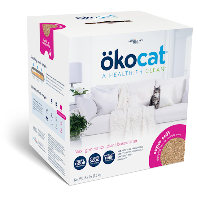 Okocat Super Soft Clumping Wood for Delicate Paws Cat Litter, 16.7 lbs. - Carousel image #1