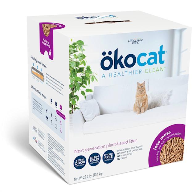 Okocat Less Mess Clumping Low Tracking Mini Pellets Wood Cat Litter, 22.2 lbs. - Carousel image #1