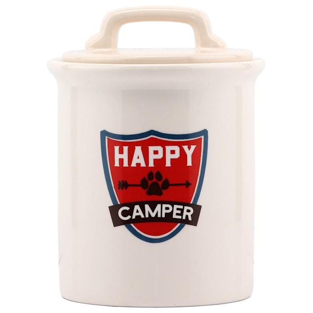Open Road Brands Happy Camper Ceramic Jar for Dogs - Carousel image #1