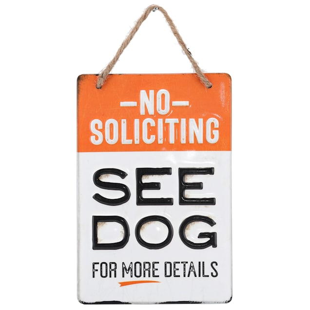 Open Road Brands No Soliciting See Dog for Details Metal Sign - Carousel image #1
