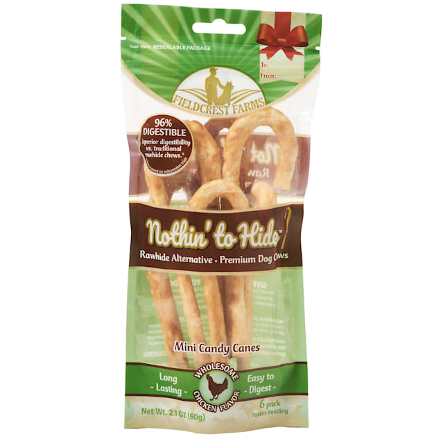 Fieldcrest Farms Nothin' to Hide Mini Holiday Candy Cane Chicken Flavor Chew Dog Treats, 2.1 oz., Count of 6 - Carousel image #1