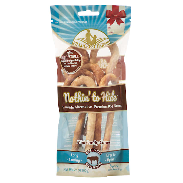 Fieldcrest Farms Nothin' to Hide Mini Holiday Candy Cane Beef Flavor Chew Dog Treats, 2.1 oz., Count of 6 - Carousel image #1