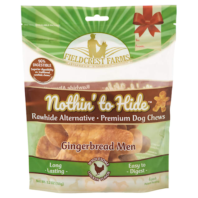 Fieldcrest Farms Nothin' to Hide Holiday Gingerbread Men Chicken Flavor Chew Dog Treats, 5.2 oz., Count of 4 - Carousel image #1