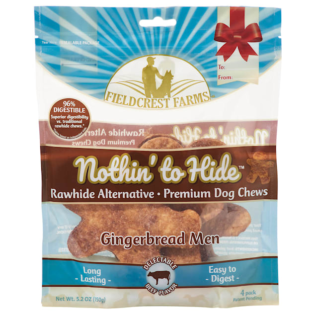 Fieldcrest Farms Nothin' to Hide Holiday Gingerbread Men Beef Flavor Chew Dog Treats, 5.2 oz., Count of 4 - Carousel image #1