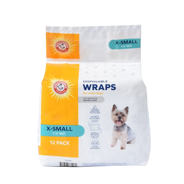 Arm & Hammer X-Small Disposable Male Wraps for Dogs, Pack of 12 - Carousel image #1