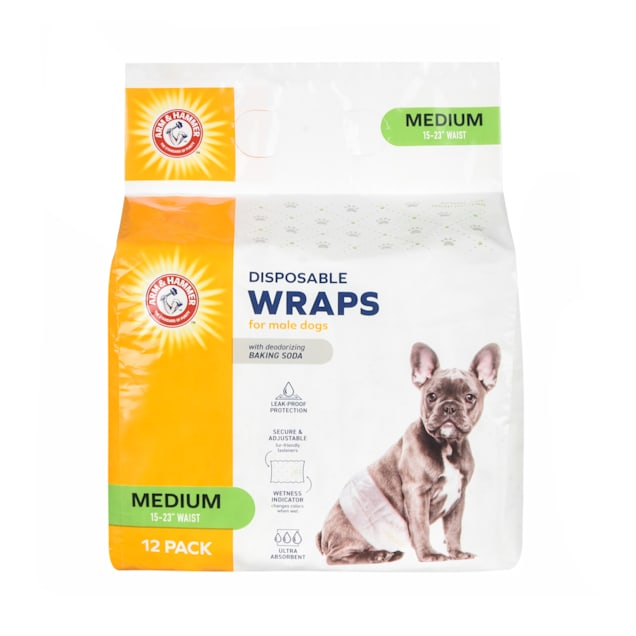 Arm & Hammer Medium Disposable Male Wraps for Dogs, Pack of 12 - Carousel image #1