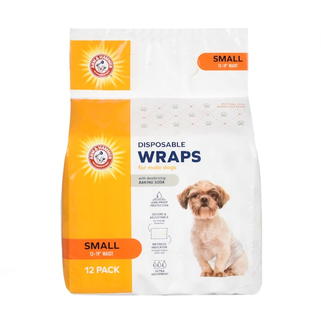 Arm & Hammer Small Disposable Male Wraps for Dogs, Pack of 12 - Carousel image #1