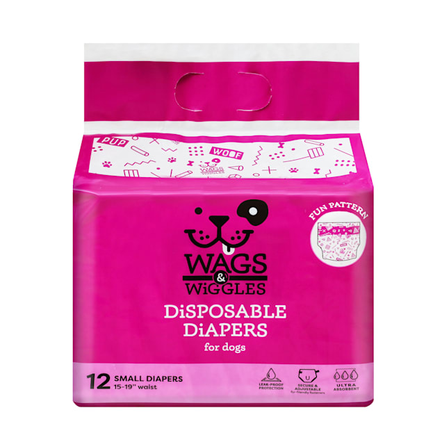 Wags & Wiggles Small Disposable Diapers for Dogs, Pack of 12 - Carousel image #1