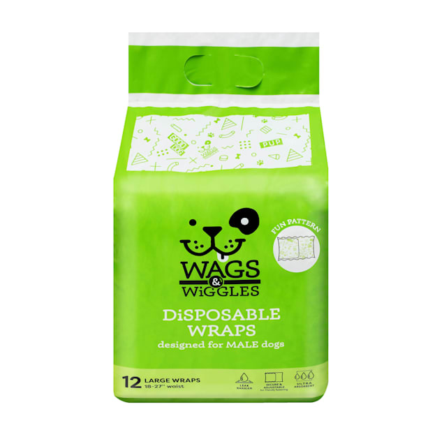 Wags & Wiggles Large Disposable Wraps for Male Dogs, Pack of 12 - Carousel image #1