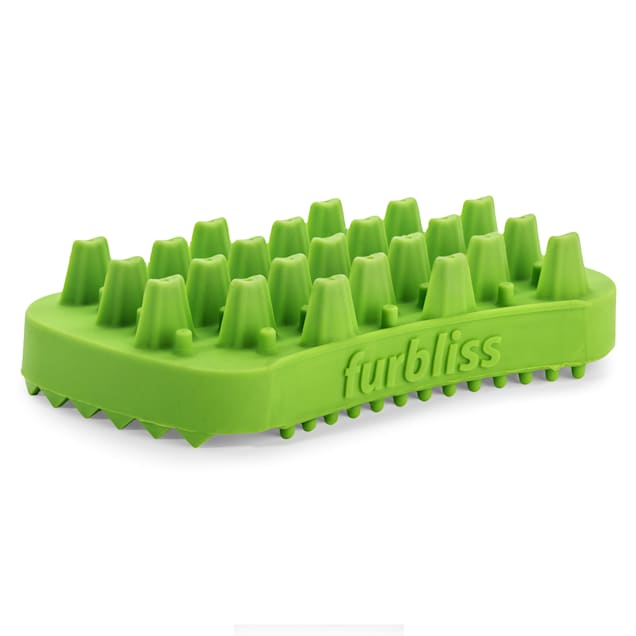 Furbliss Green Multi-use Deshedding & Massaging Long Hair Pet Brush, Small - Carousel image #1