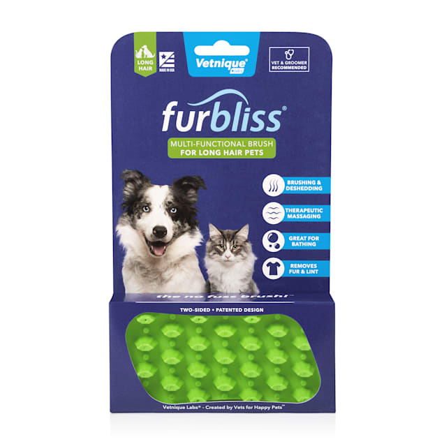 Furbliss Green Multi-use Deshedding & Massaging Long Hair Pet Brush, Small - Carousel image #1