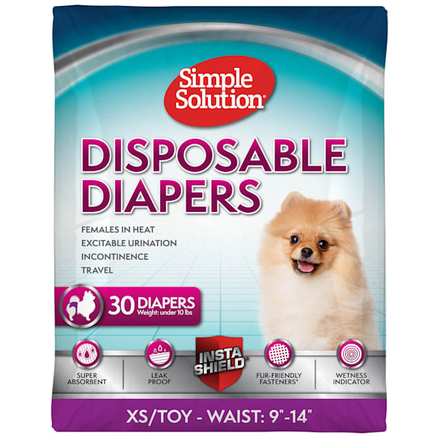 Simple Solution Disposable Female Diapers for XSmall Dogs, Count of 30 - Carousel image #1
