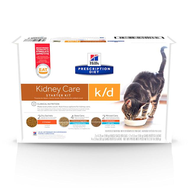 Hill's Prescription Diet k/d Kidney Care Starter Kit Variety Pack Cat Food, 5.25 oz., Count of 6 - Carousel image #1