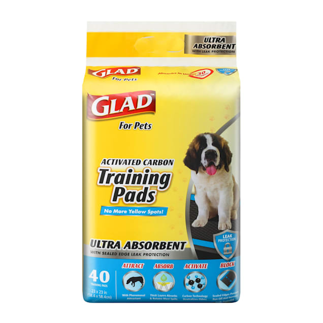 GLAD for Pets Large Activated Carbon Ultra Absorbent Dog Training Pads, Count of 40 - Carousel image #1
