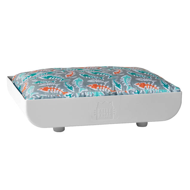 """Kitty Kasas White Penthaus Bed for Cats, 15.75"""" L X 12.5"""" W X 4"""" H - Carousel image #1"""