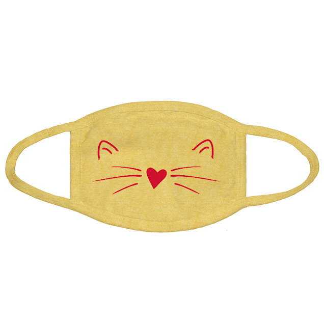 G&G Outfitters Heart Cat Graphic Yellow Cloth Face Mask - Carousel image #1