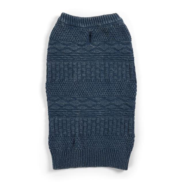 YOULY The Beatnik Blue Crewneck Dog Sweater, X-Small - Carousel image #1