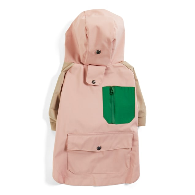 YOULY The Nature Lover Pink Colorblocked Dog Raincoat, X-Small - Carousel image #1