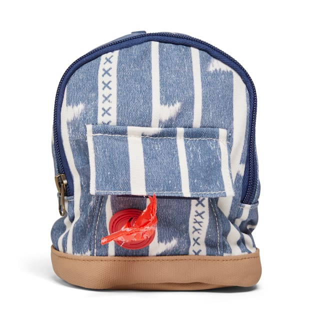 YOULY The Adventurer Blue Ikat Dog Backpack, X-Small/Small - Carousel image #1