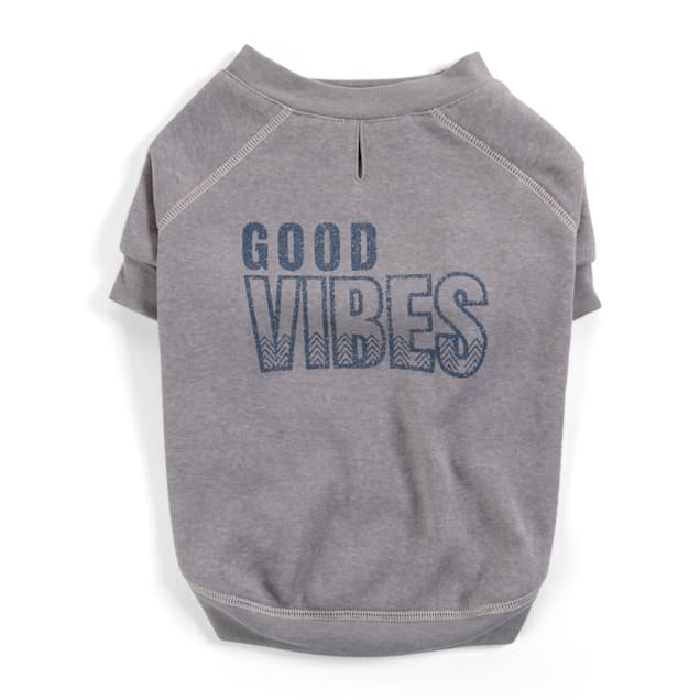 YOULY The Happy-Go-Lucky Grey Good Vibes Crewneck Dog Sweater, X-Small - Carousel image #1