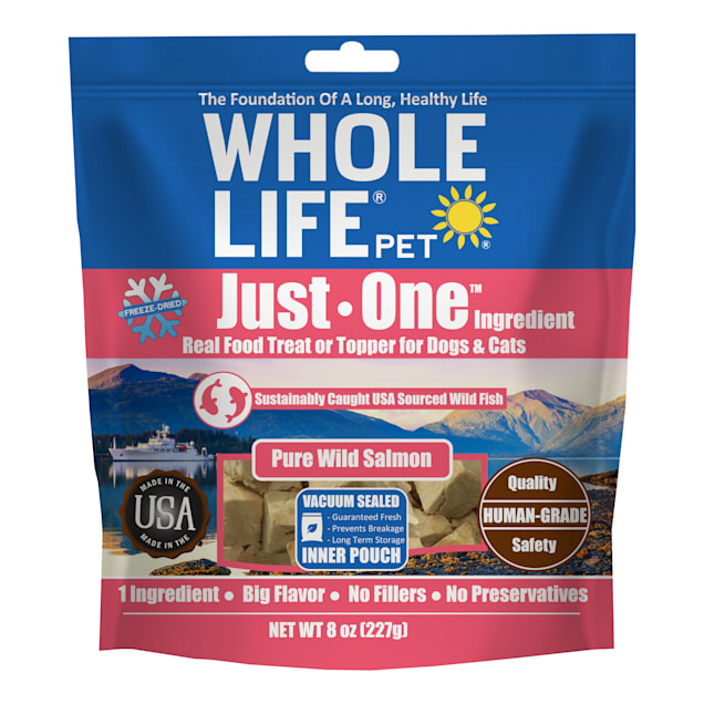 Whole Life Pet Just One Freeze Dried Pure Salmon Fillet Whole Food Dog & Cat Treats, 8 oz. - Carousel image #1