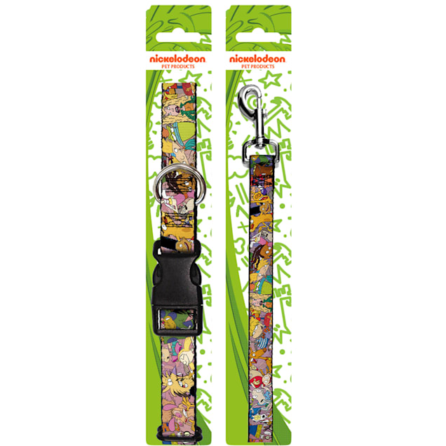 Buckle-Down Nick 90'S Rewind Character Mash Up Collage2 Pinks Plastic Clip Collar & Leash Set For Dogs, Small - Carousel image #1