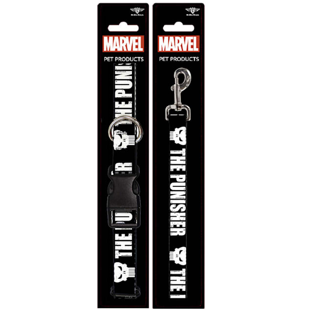 Buckle-Down The Punisher Bold With Logo4 Weathered Plastic Clip Collar & Leash Set For Dogs, Small - Carousel image #1