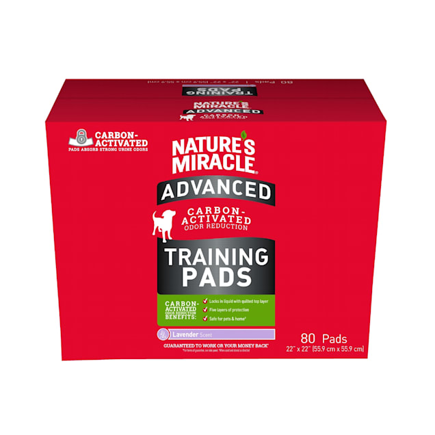 Nature's Miracle Advanced Puppy Training Pads With Carbon-Activated Odor Reduction, Count of 80 - Carousel image #1