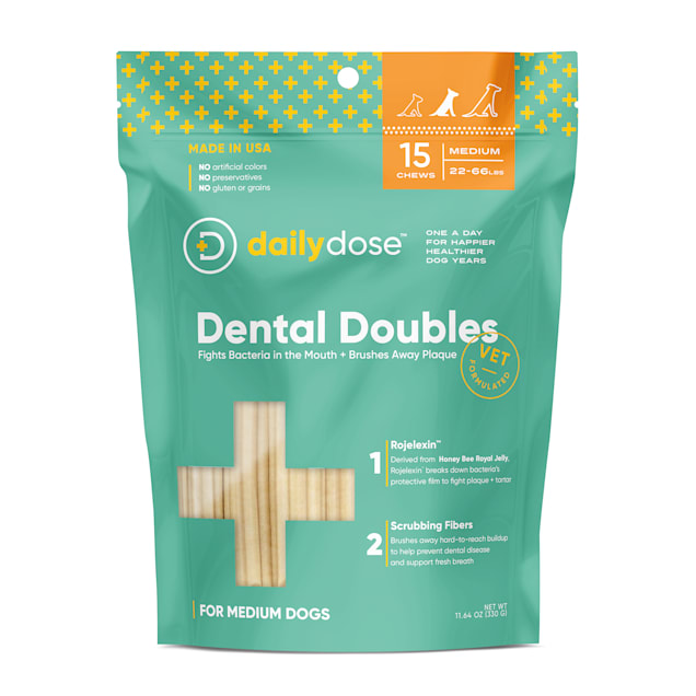dailydose Dental Doubles Medium Dog Chews, 11.1 oz., Count of 15 - Carousel image #1