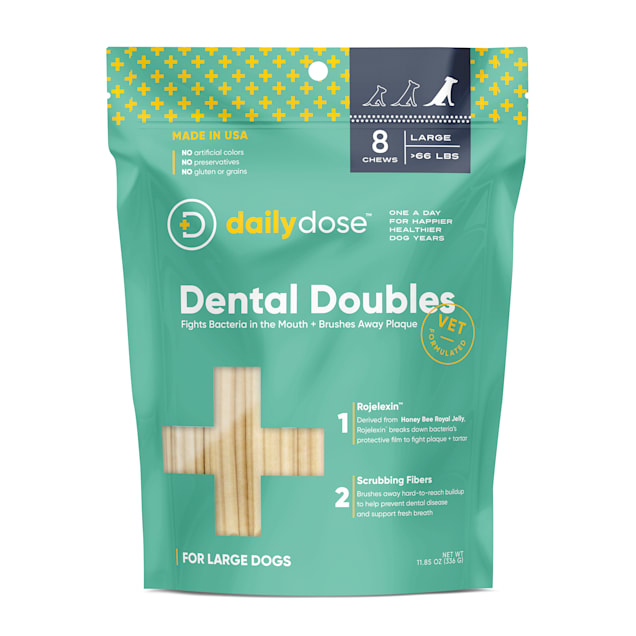 dailydose Dental Doubles Large Dog Chews, 11.3 oz., Count of 8 - Carousel image #1