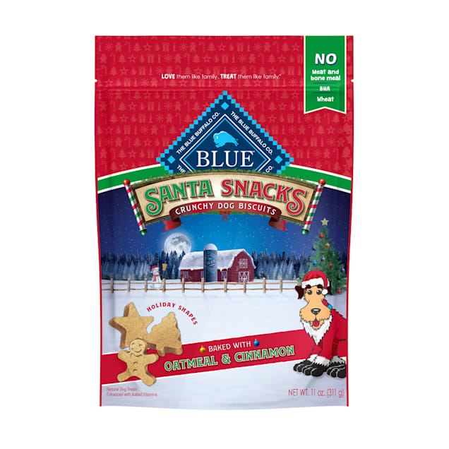 Blue Buffalo Santa Snacks Natural Crunchy Oatmeal & Cinnamon Dog Biscuits, 11 oz. - Carousel image #1