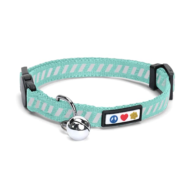 Pawtitas Traffic Teal Reflective Safety Buckle Removable Bell Kitten or Cat Collar - Carousel image #1