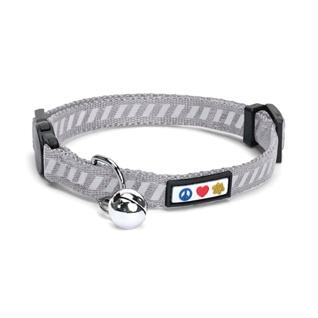 Pawtitas Traffic Grey Reflective Safety Buckle Removable Bell Kitten or Cat Collar - Carousel image #1