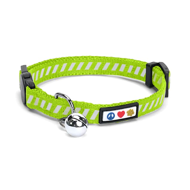 Pawtitas Traffic Green Reflective Safety Buckle Removable Bell Kitten or Cat Collar - Carousel image #1