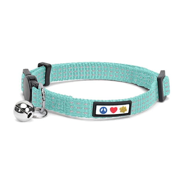 Pawtitas Teal Reflective Safety Buckle Removable Bell Kitten or Cat Collar - Carousel image #1