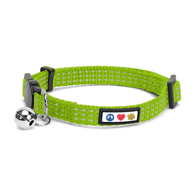 Pawtitas Green Reflective Safety Buckle Removable Bell Kitten or Cat Collar - Carousel image #1