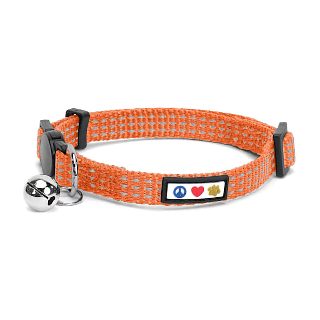 Pawtitas Orange Reflective Safety Buckle Removable Bell Kitten or Cat Collar - Carousel image #1