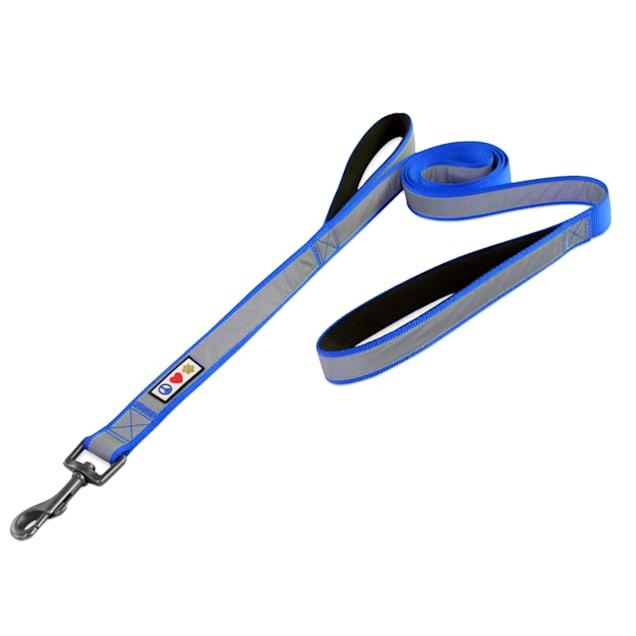 Pawtitas Reflective Blue Training Dog Leash 2 Padded Handles, 6 ft. - Carousel image #1