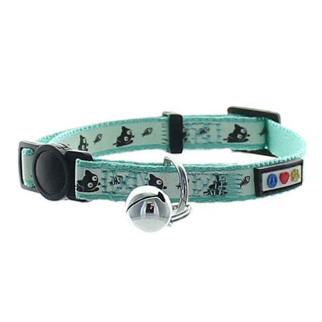 Pawtitas Glow In The Dark Teal Safety Buckle Removable Bell Kitten or Cat Collar - Carousel image #1