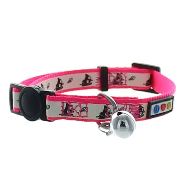 Pawtitas Glow In The Dark Pink Safety Buckle Removable Bell Kitten or Cat Collar - Carousel image #1
