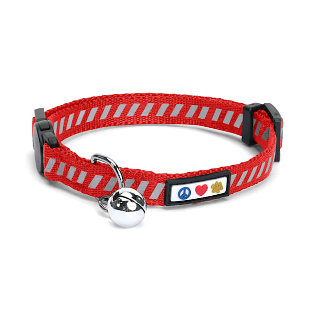 Pawtitas Traffic Red Reflective Safety Buckle Removable Bell Kitten or Cat Collar - Carousel image #1
