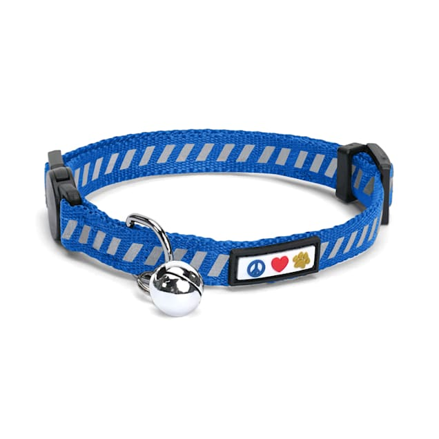 Pawtitas Traffic Blue Reflective Safety Buckle Removable Bell Kitten or Cat Collar - Carousel image #1