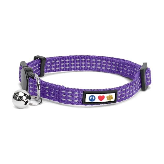 Pawtitas Purple Reflective Safety Buckle Removable Bell Kitten or Cat Collar - Carousel image #1
