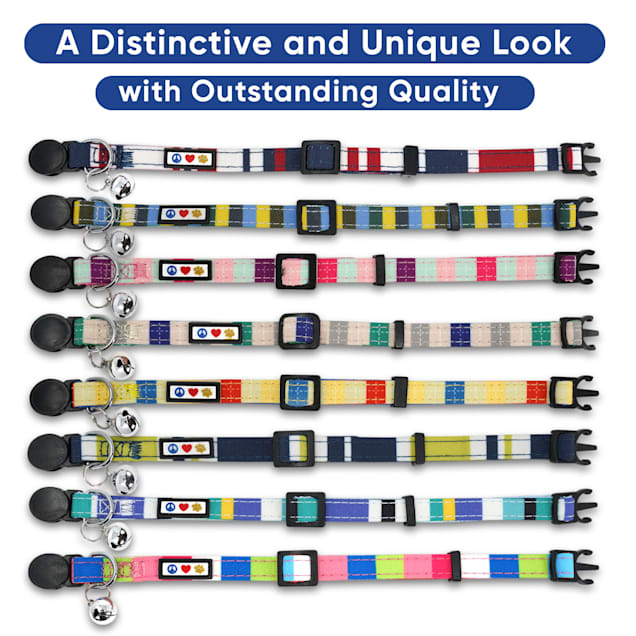 Pawtitas Multicolor Blue Green Grey Safety Buckle Removable Bell Cat Collar - Carousel image #1