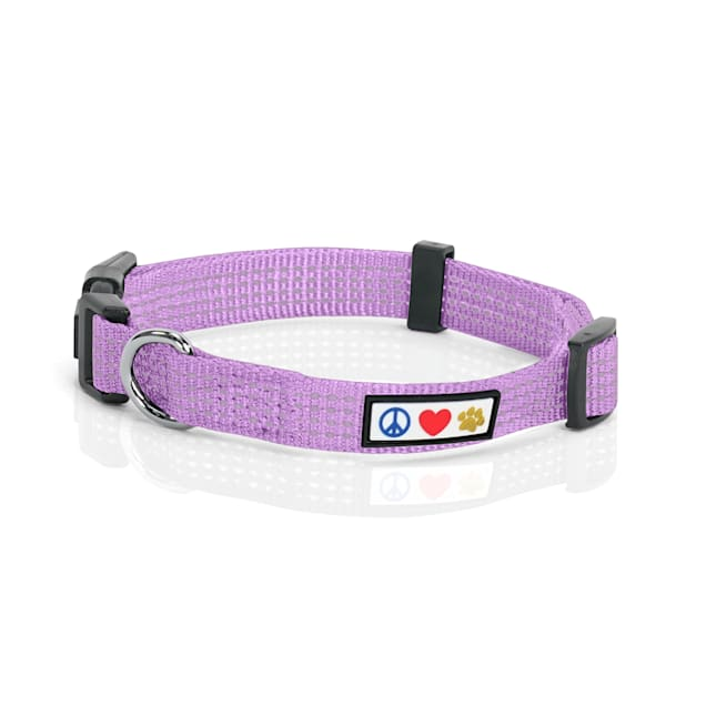 Pawtitas Reflective Purple Orchid Puppy or Dog Collar, X-Small - Carousel image #1