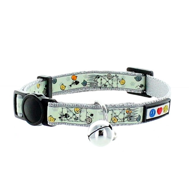 Pawtitas Glow In The Dark Grey Safety Buckle Removable Bell Kitten or Cat Collar - Carousel image #1
