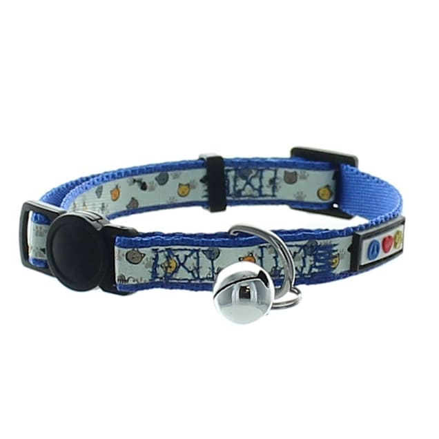 Pawtitas Glow In The Dark Blue Safety Buckle Removable Bell Kitten or Cat Collar - Carousel image #1