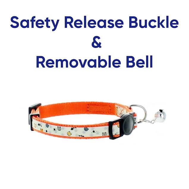 Pawtitas Glow In The Dark Orange Safety Buckle Removable Bell Kitten or Cat Collar - Carousel image #1