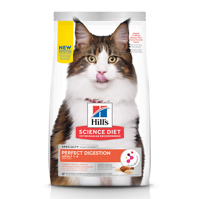 Hill's Science Diet Adult Perfect Digestion Chicken, Barley & Whole Oats Recipe Dry Cat Food, 13 lbs. - Carousel image #1